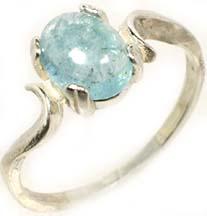 Aquamarine Gemstone Sterling Silver Ring